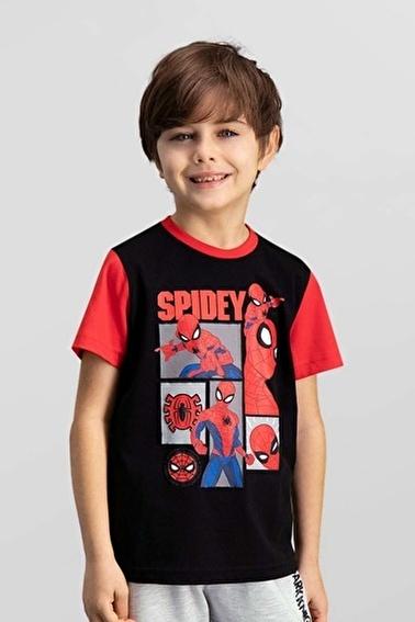 Spider-Man Spider Man Lisanslı Siyah Erkek Çocuk T-Shirt Siyah